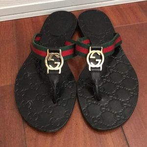 Authentic Gucci Flip Flops GG Logo
